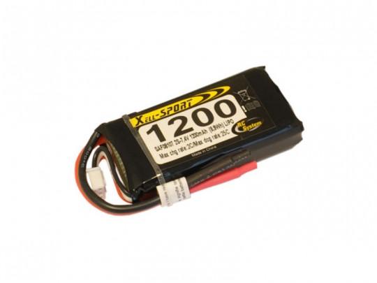Batterie LiPo Xell Sport 2S 7,4V - 1200mAh 25C - prise Deans