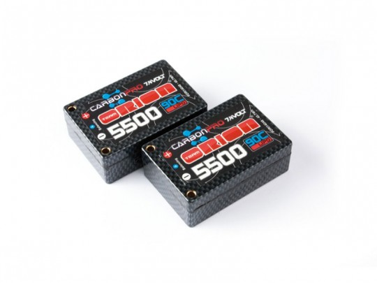 Batteries LiPo Carbon Pro - Saddle pack - 2S (7.4V) - 5500mAh - 90C - avec prises en tube