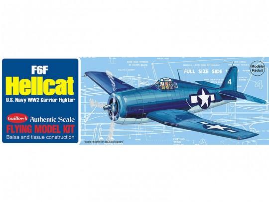 """Avion bois F6F Hellcat 16.5"""" à moteur à élastique"""