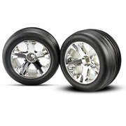 ROUES AVANT MONTEES COLLEES JANTES CHROME 2.8 (2)